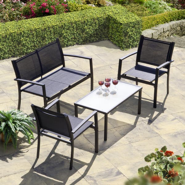 Phenomenal Brasilia Garden Set Black Textilene Frankydiablos Diy Chair Ideas Frankydiabloscom
