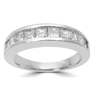Noori 14k White Gold Men's 1 1/3ct TDW Princess Cut Diamond Wedding Band