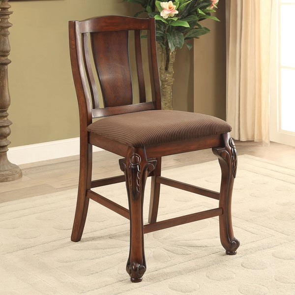 Traditional Cherry Casual Carved Design Dining Room Round: Shop Furniture Of America Hannel Traditional Floral Carved