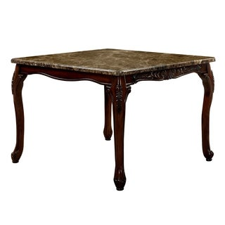 Furniture of America Hannel Traditional Floral Carved Faux Marble Brown Cherry Counter Height Table