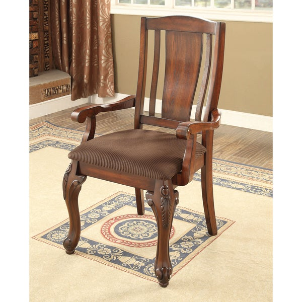 Leahlyn Reddish Brown Arm Chair Set Of 2: Shop Furniture Of America Hannel Traditional Floral Carved