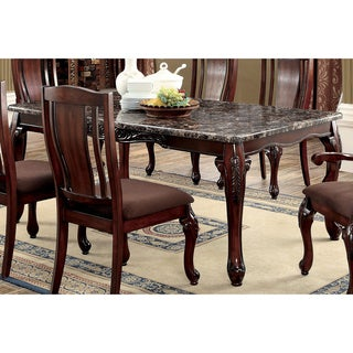 Furniture of America Hannel Traditional Floral Carved Faux Marble Brown Cherry Dining Table