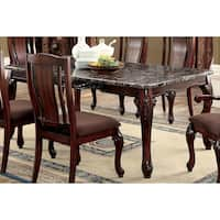 Furniture of America Hannel Traditional Floral Carved Faux Marble Brown Cherry Dining Table - Cherry Brown