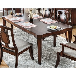 Furniture of America Lankton Traditional Expandable Brown Cherry Dining Table with 18-inch Leaf