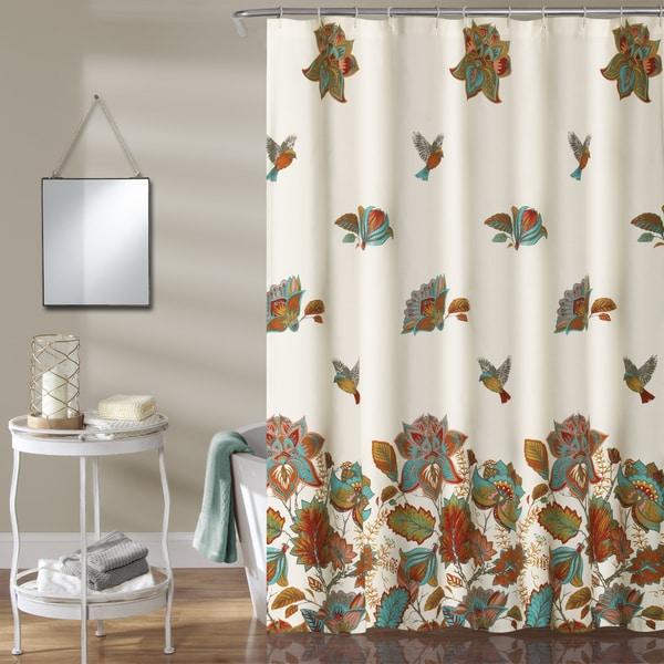 Lush Decor Bird And Flower Shower Curtain
