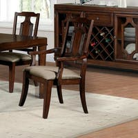 """Furniture of America Lankton Traditional Fabric Brown Cherry Arm Chair (Set of 2) - 22 1/4""""W X 24 1/4""""D X 41""""H"""