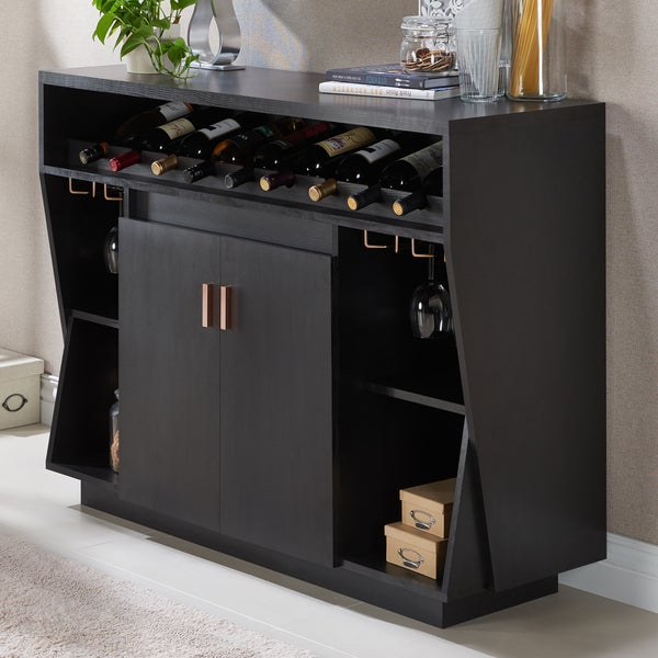 Furniture Of America Gergich Contemporary Angled Multi Storage Black Dining  Buffet