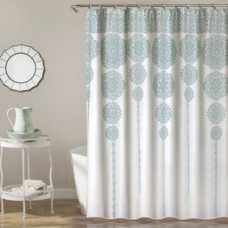 Lush Decor Stripe Medallion Shower Curtain (2 options available)