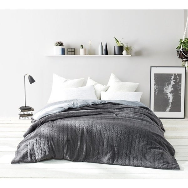 BYB Granite Gray Cable Knit Comforter (Shams Not Included)
