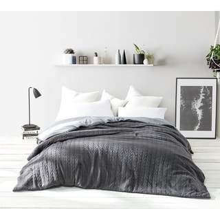Granite Gray Cable Knit Comforter