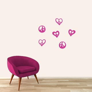 Small Peace Signs and Hearts Set Wall Decal