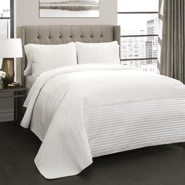 Lush Decor Thin Stripe Texture 3 Piece Quilt Set