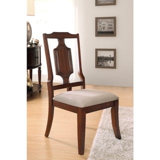 Furniture of America Lankton Traditional Fabric Brown Cherry Side Chair (Set of 2)