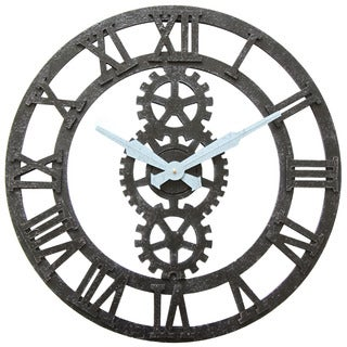 Infinity Instruments Balanced Gear Metal 23.75-inch Round Wall Clock