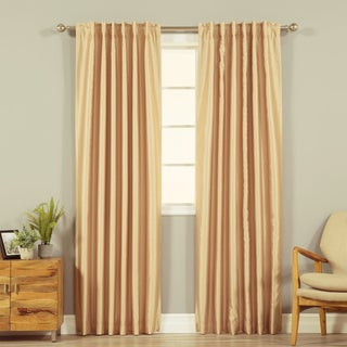 Aurora Home Candy-striped Faux Silk 84-inch Blackout Back Tab/Rod Pocket Curtain Panel - 52 x 84