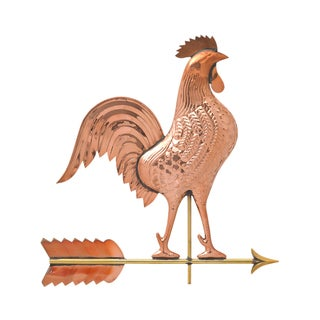 Polished White Hall Copper Rooster Weathervane