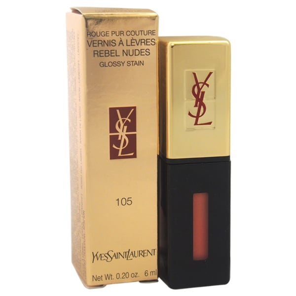 Yves Saint Laurent Rouge Pur Couture Vernis A Levres Rebel Nudes Glossy Stain 105 Corail Hold U