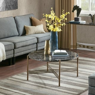 Madison Park Transitional Signature Rowen Marble/ Bronze Coffee Table