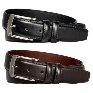 E.M.P Men's Black and Brown Leather Dress Belts (Set of 2)