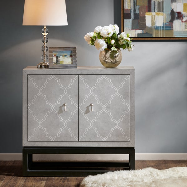 Madison Park Transitional Vida Grey/ Black 2-Door Cabinet