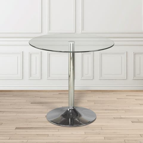 Small Modern Round Glass and Metal Dining Kitchen Table