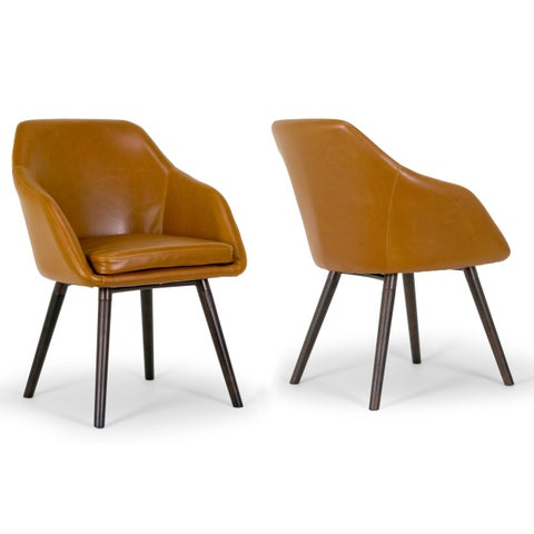 Strick & Bolton Brubeck 2-piece Cappuccino Faux Leather Arm Chairs Set with Beech Legs