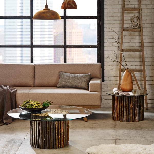 Merveilleux INK+IVY Topi Rustic Mediterranean Coffee Table With Glass