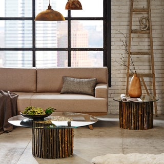 INK+IVY Topi Rustic Mediterranean Coffee Table with Glass