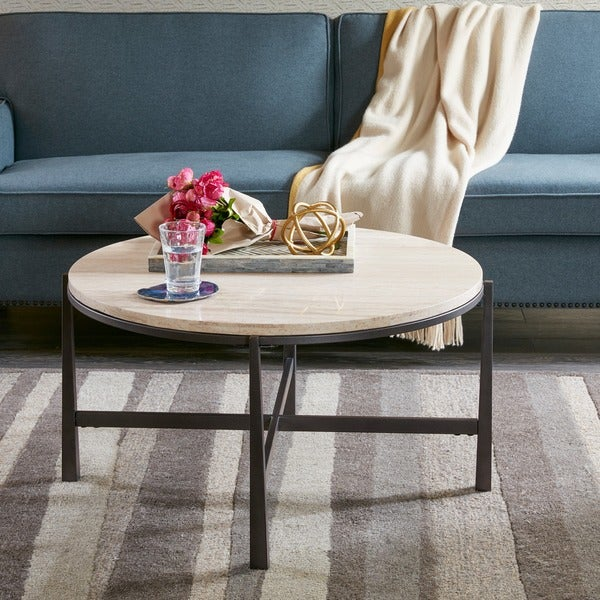 Parker Oval Marble Coffee Table Reviews: Shop Madison Park Contemporary Landon Natural Multi Coffee