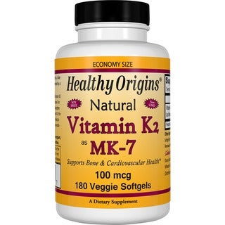 Healthy Origins Vitamin K2 as MK-7 (180 Veggie Softgels)