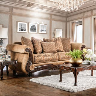 Ersa Traditional Wood Trim Chenille Fabric Gold Bronze Sofa By Furniture Of America