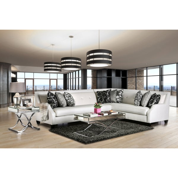 Clover Contemporary Tufted High Shine Fabric Off White Sectional By  Furniture Of America