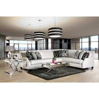 Clover Contemporary Tufted High-shine Fabric Off-White Sectional by Furniture of America
