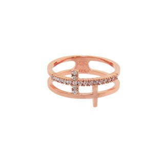 Eternally Haute 14K Rose Gold plated Pave Cross Wrap Ring - Pink