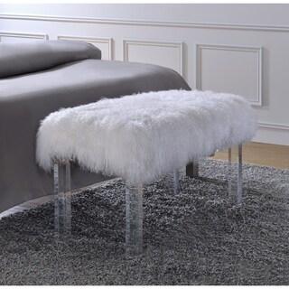 Acme Furniture Bagley Tibet Wool Clear Acrylic Bench
