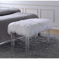 Luxe White Sheepskin Lucite Bench Free Shipping Today