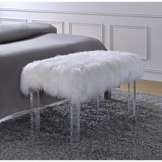 Acme Furniture Bagley Tibet Wool Clear Acrylic Bench
