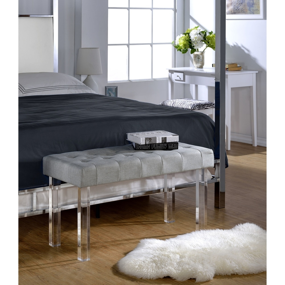 Acme  Furniture Bagley Grey Linen Acrylic Bench (acrylic bench)