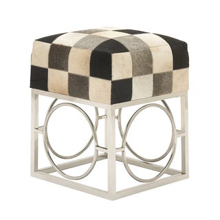 Urban Designs Checkered Hide and Nickel 21-Inch Accent Stool