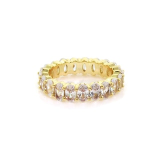 Eternally Haute 14k Gold-plated 7.5-CTW Cubic Zirconia Oval Eternity Ring