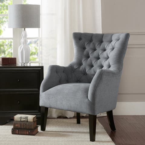 Madison Park Isa Grey Button Tufted Wing Chair