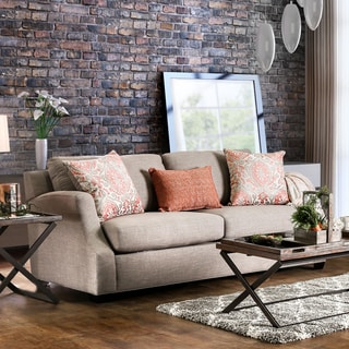 Lened Contemporary Sloped Track Arm Fabric Sofa by Furniture of America