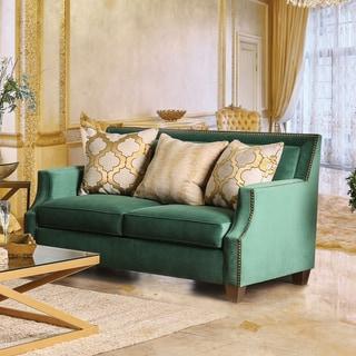 Furniture of America Katrina Contemporary Nailhead Microfiber Emerald Green Loveseat