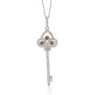 Suzy Levian Sterling Silver Cubic Zirconia Chocolate Key Pendant