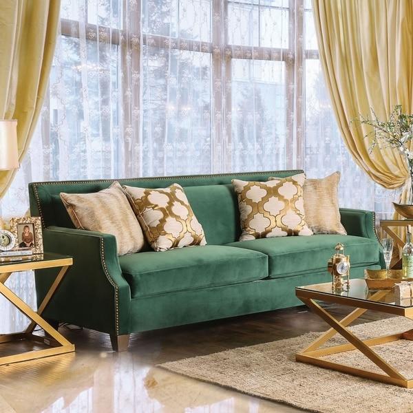 Shop Katrina Contemporary Emerald Green Nailhead Sofa by FOA - On ...