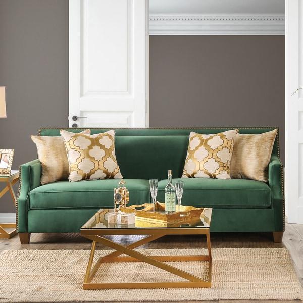 Katrina Contemporary Nailhead Microfiber Emerald Green Sofa By Furniture Of America Free
