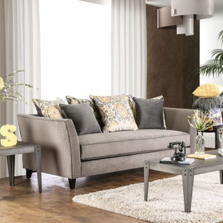 Seran Contemporary Premium Velvet-like Fabric Sofa by Furniture of America (4 options available)