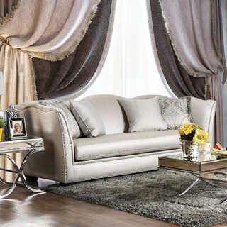 Heather Contemporary Curvy High Back Microfiber Silver Sofa by Furniture of America