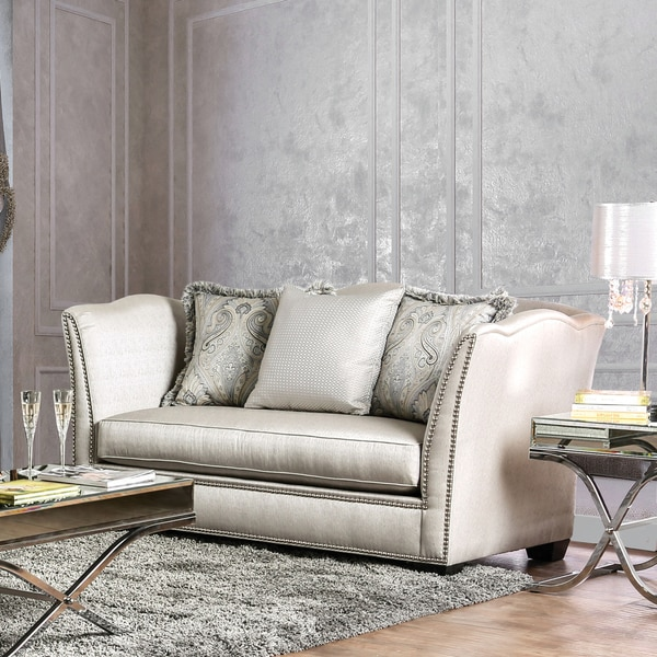 Heather Contemporary Curvy High Back Silky Fabric Silver Loveseat By  Furniture Of America