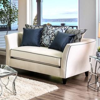 Seran Contemporary Premium Velvet-like Fabric Loveseat by Furniture of America